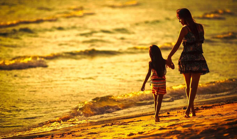 пляж, mom, дочь, surf, девушка, женщина