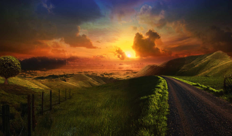 road, sunset, wallpapers, wallpaper, hill, desktop
