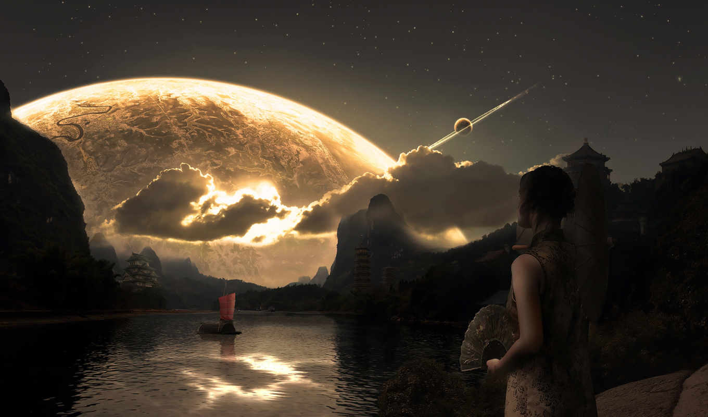девушка, планета, вечер, фэнтези, картинка, инопланетный, temalar, вертикали, бесплатные, горизонтали, имеет, мобильный, озеро, güzel, пейзажи, yeni, рисунки, девушки, провожает, корабль,