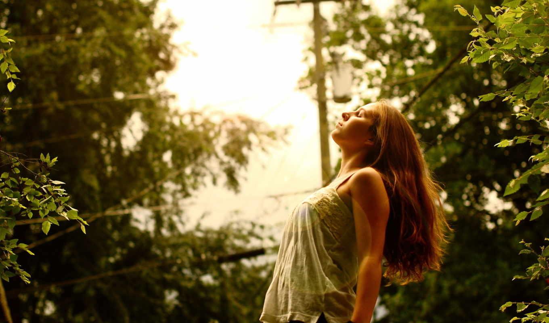 лето, свет, девушка, картинка,