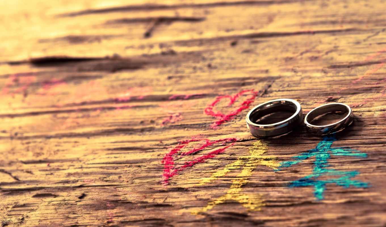 кольца, рисунок, древесина, свадьба, сердца, он и она