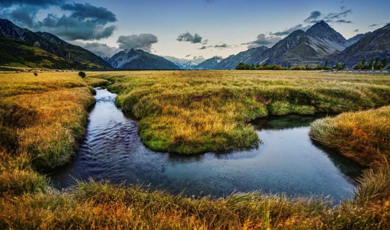 новая, zealand, горы, new, река,