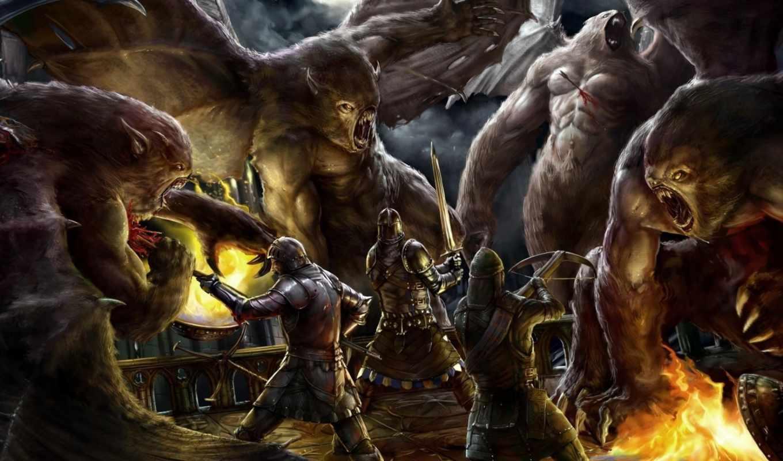 fantasy, монстры, взгляд, воин, войны, ведьмак, девушка, цветы, битва, игры, текстуры,
