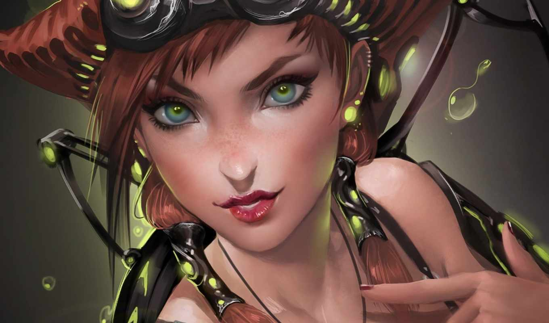 art, девушка, механизм, металл, pack, свет, shining, взгляд, watches,
