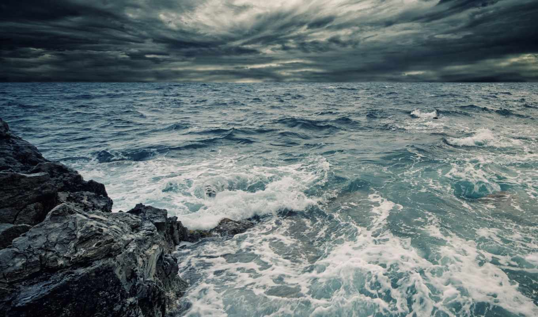 море, волны, ocean, water, брызги, rock, природа, небо, пасмурно,
