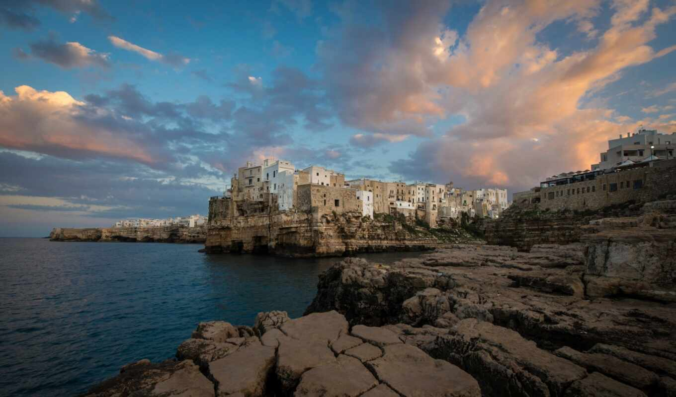 mare, italy, polignano, dimension, море, traversa, камень, domenico, modugno, build