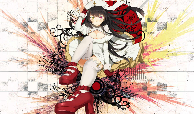 anime, tags, black, similar, hair, heterochromia, nuns, gloves, girls, colors, hat, women, manga, original, eyes, bicolored, desktop,