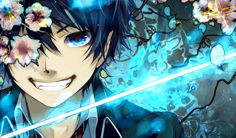anime, blue, exorcist, art,