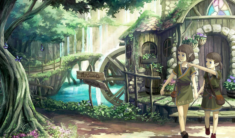 anime, elfy,