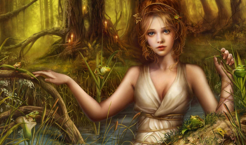 девушка, озеро, cris, ortega, арт, fantasy, blonde, hintergrundbilder, лягушки, фентази, blond, fondos, best, разное, фэнтези, download, fantasie, mädchen, schöne,