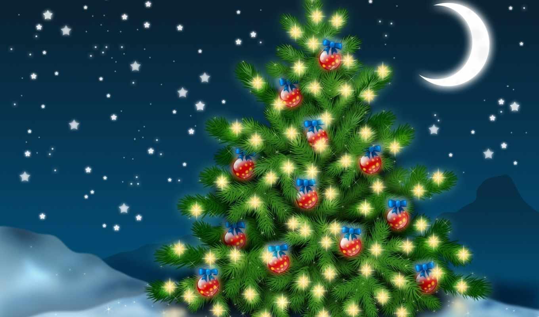 ночь, игрушки, год, елочка, праздник, настроение, зима, новый, christmas, елка, trees, луной, под, high, годом, новогодние, новым, картинку,