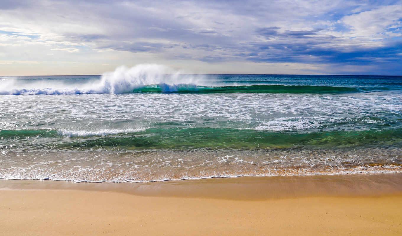 пляж, море, природа, небо, облака, песок, landscape,