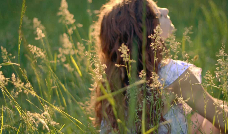 природа, девушка, трава, настроения, зелёный,