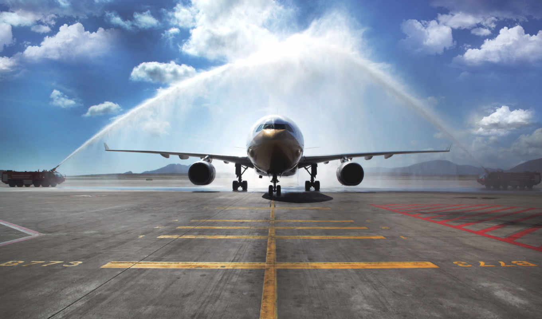 airbus, пассажирский, самолёт, день, авиалайнер, небо, самолеты,