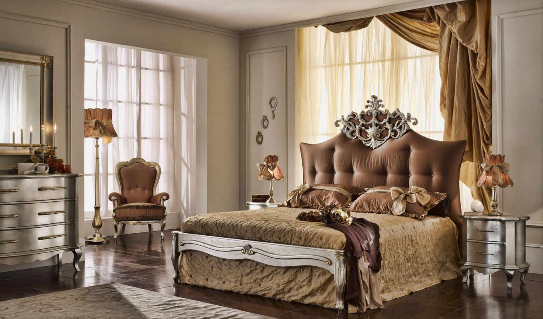 обои, спальня, кровать, интерьер, кресло, обоев, д