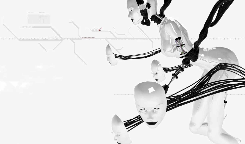 обои, роботы, робот, графика, черно, белые,