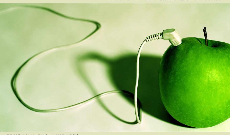 музыка, наушники, обои, яблоко, провод, девушка, н