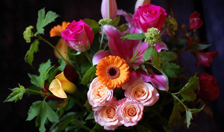 розы, хризантема, листья, картинку, картинка, кнопкой, мыши, цветы,