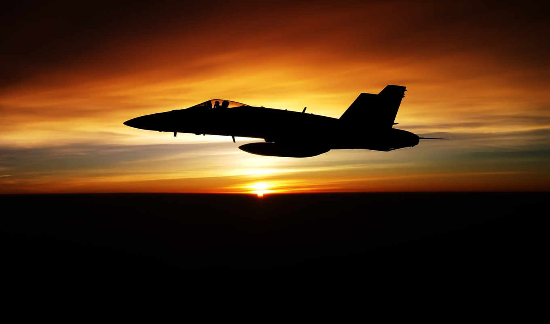 aircraft, hornet, free, desktop, истребитель, фоне, заката, dusk,