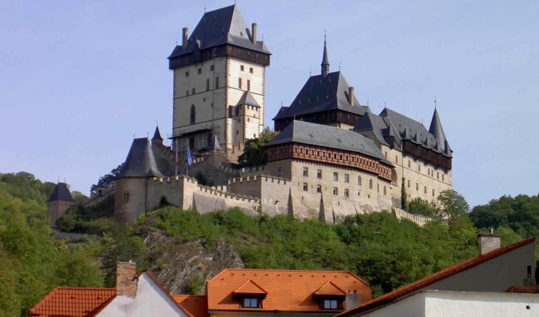 castle, karlstejn, карлштейн, замок, architecture, trees, czech, medieval, деревья, средневековой, республика, чехии, чешская, дрезден, экскурсии, нюрнберг, праги, вену,