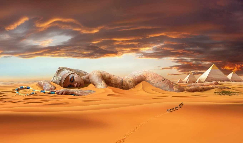 пустыня, песок, пирамиды, совершенно, категория, дюны,