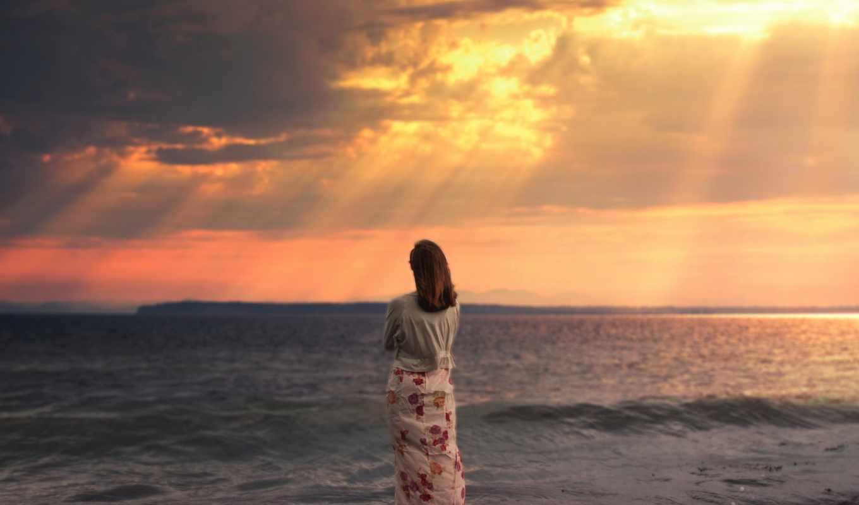 девушка, море, закат, одиночество, волны