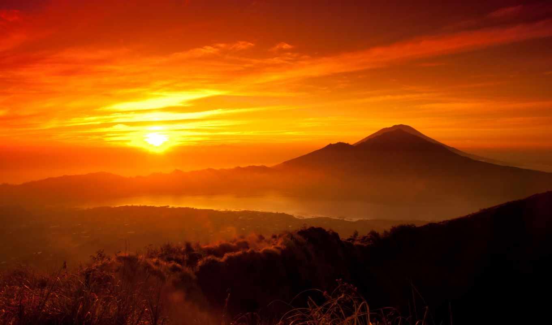 закат, озеро, горы, sun, лес, yellow, оранжевый, небо,