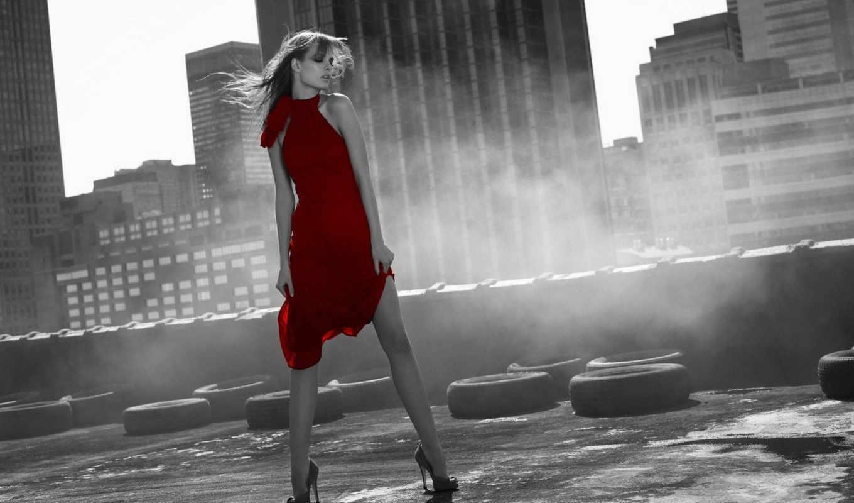 город, девушка, чб, платье, красный, смотрите, девушки,
