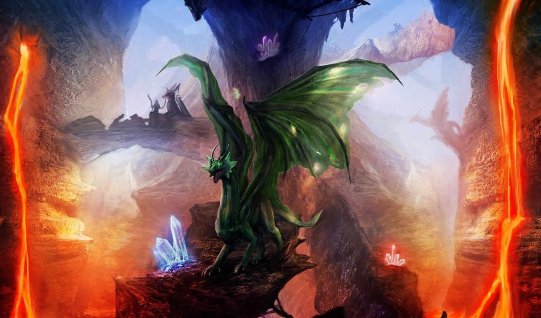 арт, драконы, лава, скалы, кристаллы, android, картинка, горизонтали, вертикали, имеет,