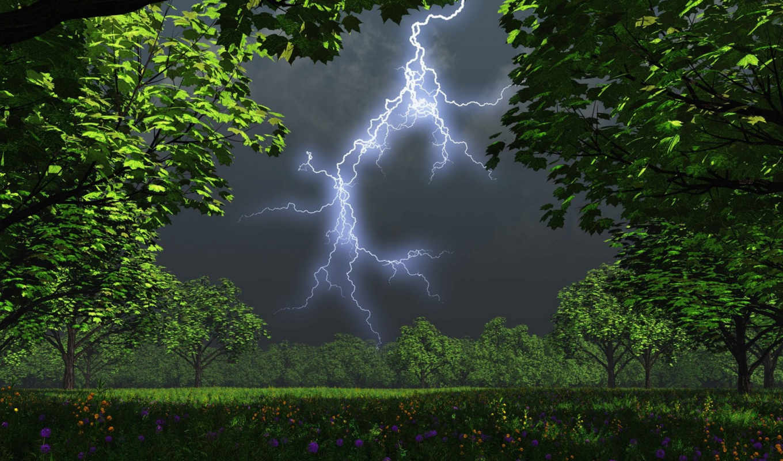 thunder, lightning, буря, молнии, после,