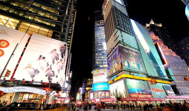 new, york, нью, nyc, ночь, широкоформатные, улица,