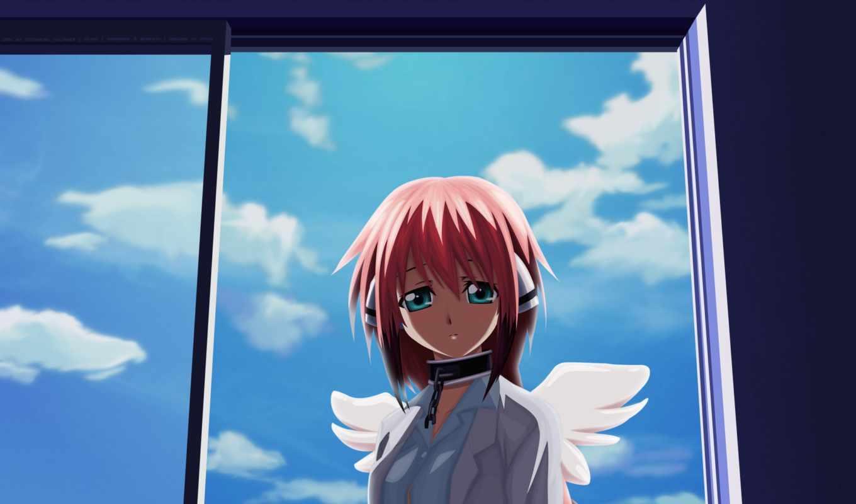 angel, anime, девушка, крылья, otoshimono, ikaros, sora,