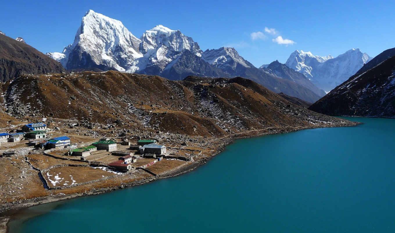горы, nepal, побережье, озеро, совершенно, треккинг, природа, категория,