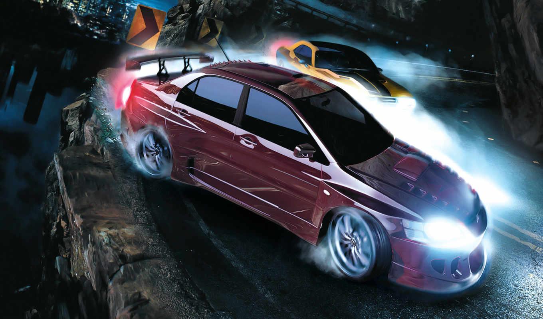 speed, need, carbon, гонка, игра, игры, é³µ, lancer, mitsubishi, дрифт, тюнинг, машина, машины, обрыв, ночь, evolutsion, photos,