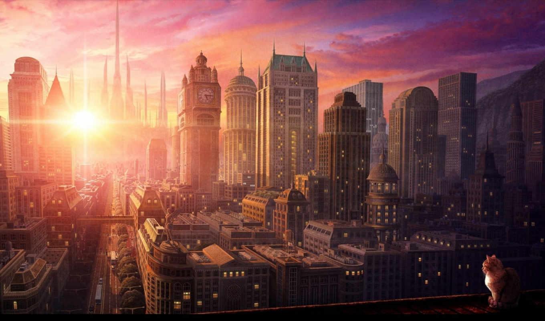 закат, город, anime, дек, art, городе, города, но, котэ,