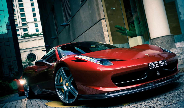 ferrari, italia, car, автомобили, телефон, здания, вид, red,