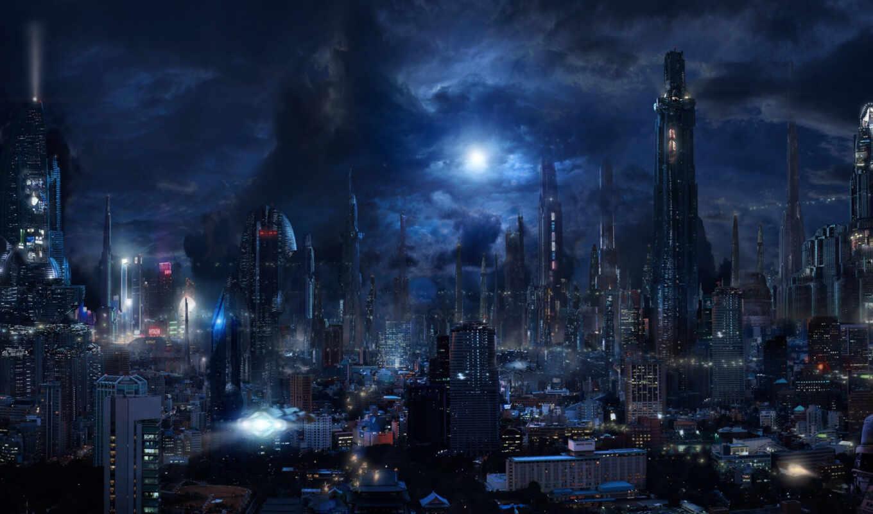 город, будущее, облако, fantastic, небо, ночь, fantasy, мегаполис