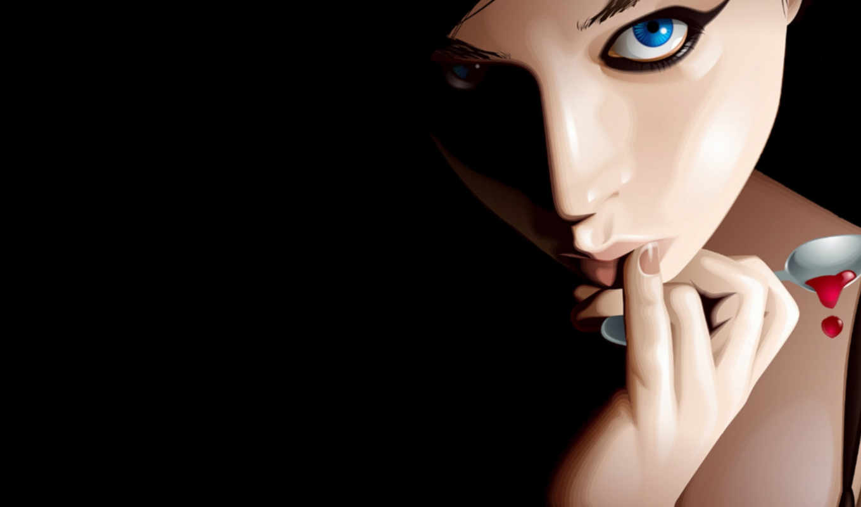 нарисованная, iphone, арт, девушка, desktop, blue, eyes, ложка, разрешением, рисунок, черный,