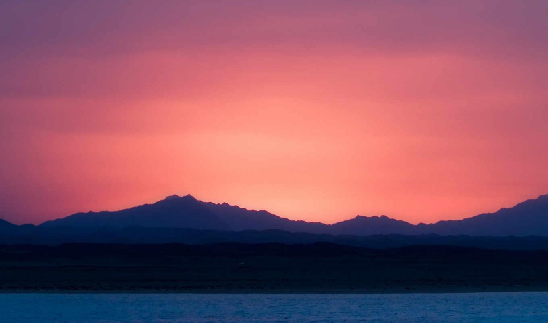 розовый закат, море, горы  № 3110157 без смс