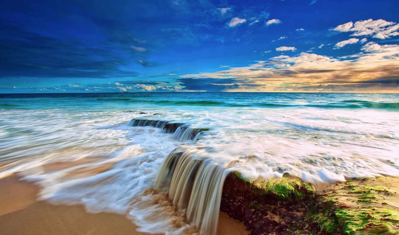 облака, небо, water, пляж, скалы, море, высоком,