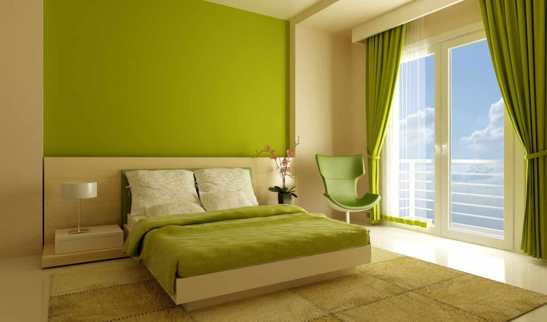 тонах, зелёных, спальня, интерьер, комната, спальни, зеленого,