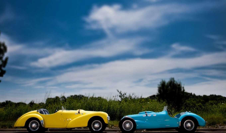 ,желтый, синий, widescreen, carros antigos,
