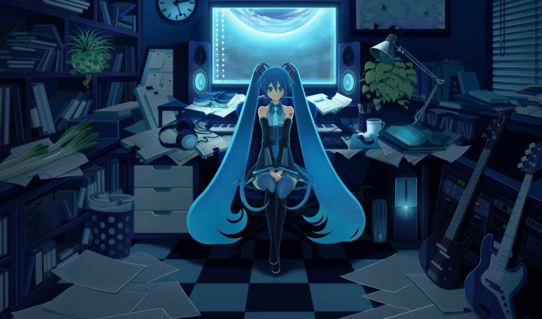 anime, hatsune, синие, devushki, miku, синими, волосами, девушка,