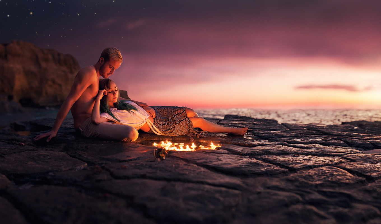 моря, romantic, банка, вечер, love, пары,