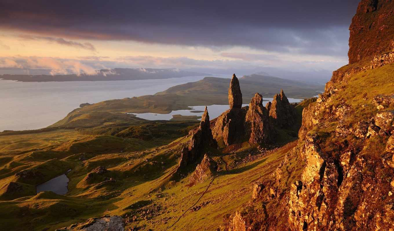 шотландия, природа, горы, water, скалы, картинка,