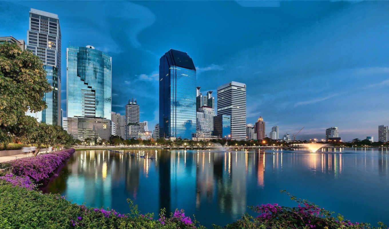 Таиланд, вода, бангкок, небоскрёбы, фонтан