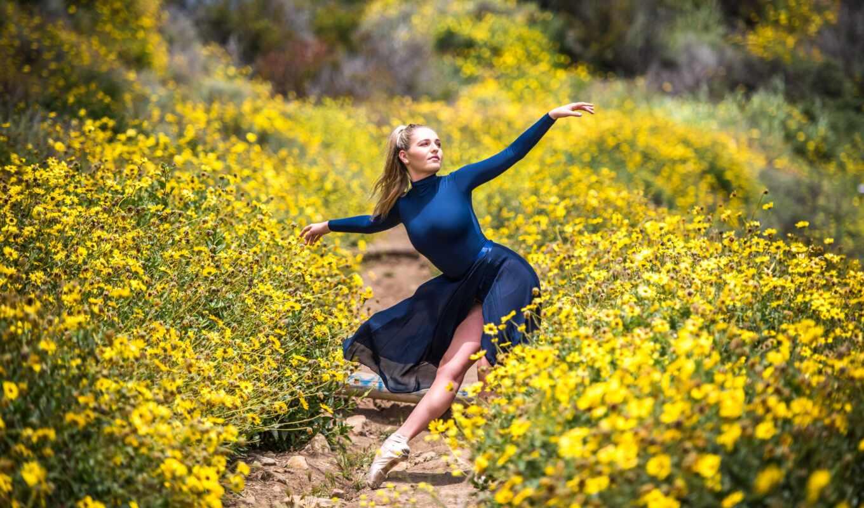 dance, девушка, природа, цветы, настроение, blonde, поляна