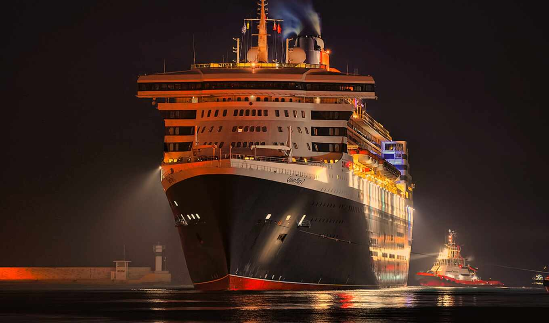 ночь, лайнер, cruise, корабль, море, док
