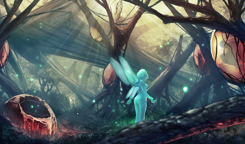 гнезда, арт, лес, фея, крылья,