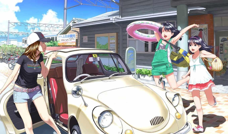 аниме, лето, девушки, веселье, машина, просмотреть,